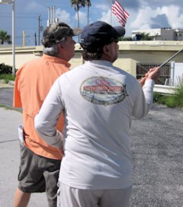 Capt. Rick Grassett works with a student on their back cast at a CB's Saltwater Outfitters Orvis Fly Fishing 101 class.