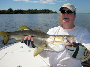 Jack McCulloch, from Lakewood Ranch, FL, caught and released this snook on a CAL jig with a shad tail while fishing the backcountry of Charlotte Harbor with Capt. Rick Grassett.