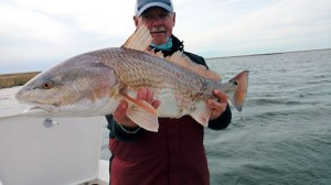 Mike Perez, from Sarasota, FL, with big Louisiana red  caught and released on a fly while fishing out of Hopedale, LA.