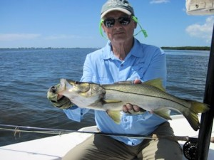 Frank Zaffino. from Rochester, NY, with a snook caught and released in Sarasota Bay on a Grassett Flats Minnow fly while fishing with Capt. Rick Grassett.