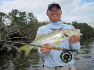 Jon Yenari, from Sarasota, with a snook caught and released on a fly while fishing the Terra Ceia area with Capt. Rick Grassett.