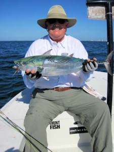 Lynn Skipper, from Apollo Beach, got it on the action catching and releasing false albacore on flies while fishing the coastal gulf in Sarasota with Capt. Rick Grassett.