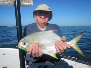 Walter Poxon, from MN, with a nice pompano caught on a CAL jig with a shad tail while fishing Sarasota Bay with Capt. Rick Grassett.