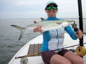 Lindsey Lewis, from CO, caught and released a nice Spanish mackerel on an Ultra Hair Clouer fly in Sarasota Bay with Capt. Rick Grassett in a previous April.