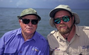 Fly fishing legend, Lefty Kreh, and Capt. Rick Grassett from a trip in Tampa Bay, circa late 90's. Rusty Chinnis photo.