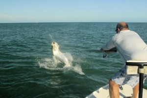 Cliff Ondercin, from Sarasota, jumps a tarpon in the coastal gulf while fishing with with Capt. Rick Grassett in a previous June.