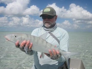 Capt. Rick Grassett with an estimated 8-lb South Andros bonefish.