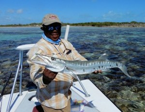 Mars Bay Lodge guide Dingy with a nice South Andros 'cuda caught by Kirk Grassett on a plug.