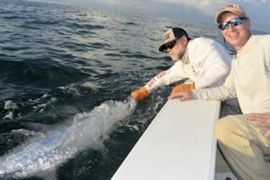 Dave Reinhart, from MA, with a tarpon caught and released while fishing the coastal gulf with Capt. Rick Grassett.