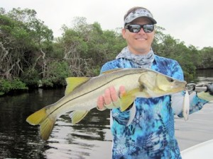 October is usually a great month to fish the flats. Kyle Ruffing, from Sarasota, caught and released this nice snook on a top water plug while fishing Tampa Bay with Capt. Rick Grassett in a previous October.