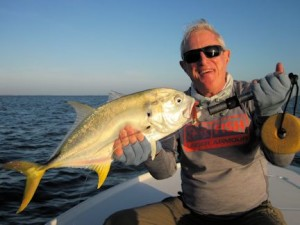 Marshall Dinerman. from Lido Key, with a jack crevalle caught and released on a CAL jig with a shad tail while fishing Sarasota Bay with Capt. Rick Grassett.