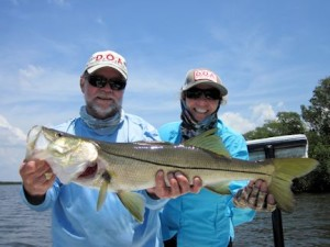 Jenny Nichols, of DOA Lures, fished Gasparilla Sound with Capt. Rick Grassett in a previous April and caught and released this nice snook on a CAL jig with a shad tail.